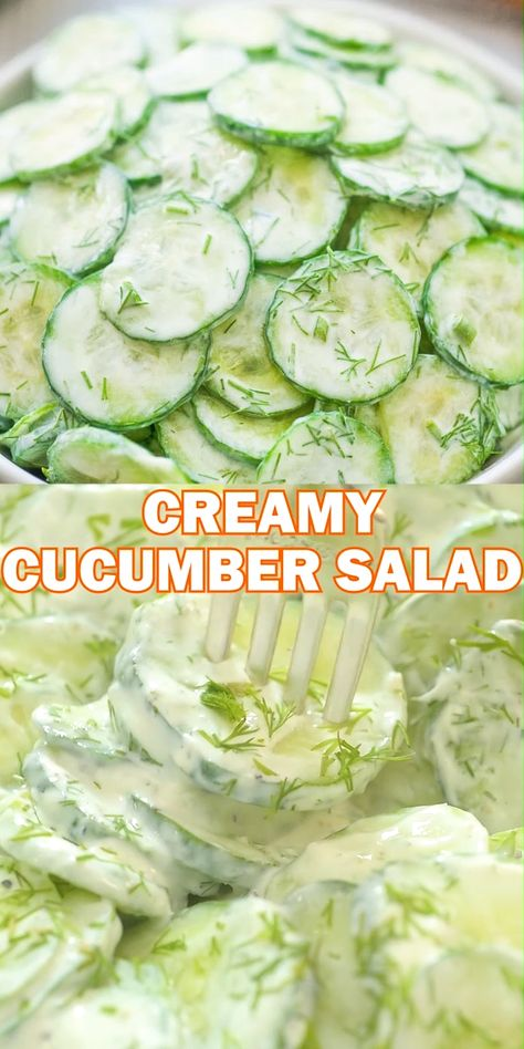 This Creamy German Cucumber Salad is simple, crunchy, and very tasty. It makes a perfect side to any dish and you'll want to eat it all summer long. FOLLOW Cooktoria for more deliciousness! #cucumber #salad #creamy #sourcream #german #keto #lowcarb #recipeoftheday