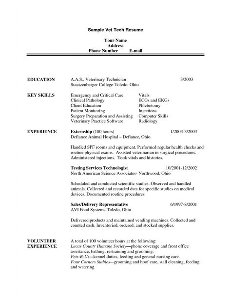 handyman resume sample sample vet tech resume veterinary technician resume examples - Handyman Resume Samples