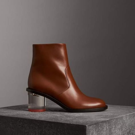 d7145cd1ff21 Burberry Two-tone Leather Block-heel Boots