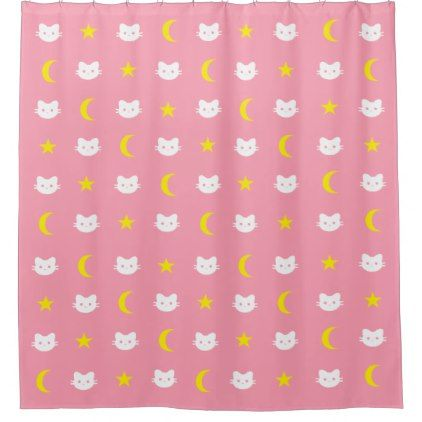 Kitty Cat Moon And Stars Shower Curtain Zazzle Com Curtains Bathroom Shower Curtains