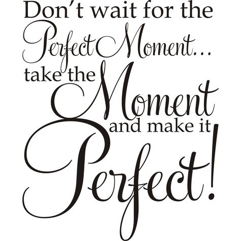 Design on Style Don't Wait For The Perfect Moment ...Take The Moment And Make It Perfect!' Vinyl Art Quote (Don't wait for the Perfect Moment Vinyl Art), Black
