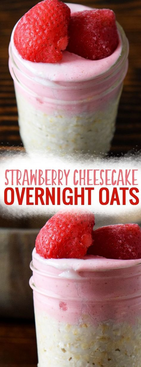 Strawberry Cheesecake Overnight Oats - Easy and healthy overnight oats in a jar make for a fast and easy breakfast. Best of all these overnight oats are made with frozen fruit and you can meal prep them early on in the week as a part of meal plan! Low Carb Cheesecake, Strawberry Cheesecake, Breakfast Cheesecake, Strawberry Pretzel, Strawberry Blonde, Breakfast Hotel, Breakfast In A Jar, Overnight Oats In A Jar, Strawberry Overnight Oats