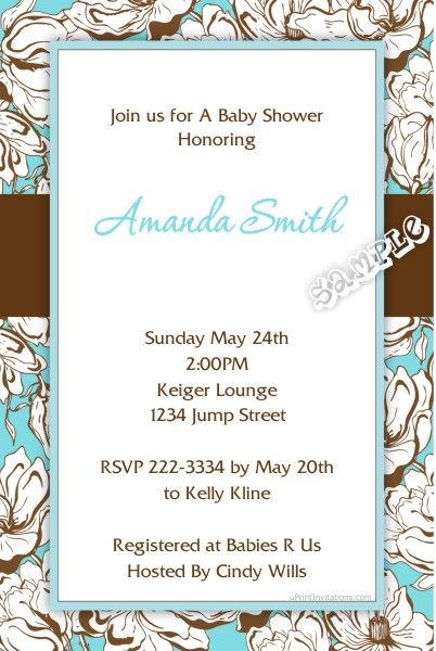 Flower Floral Frame Baby Shower Invitations - Get these invitations ...