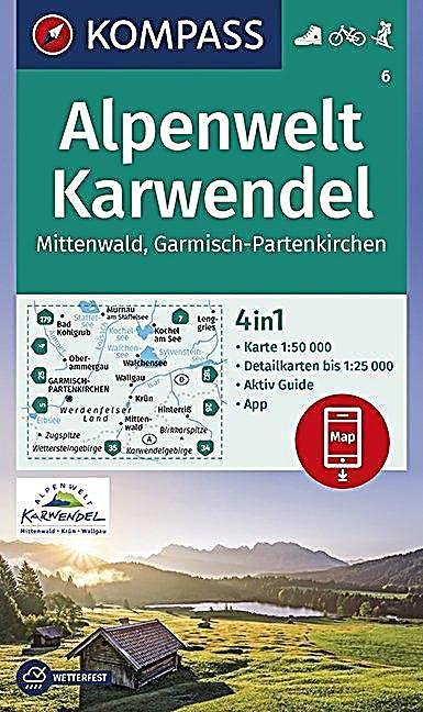 Kompass Wanderkarte Alpenwelt Karwendel Mittenwald Garmisch