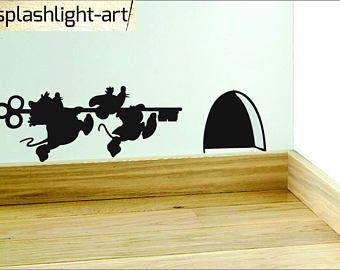 Foto Sticker Muur.Cinderella Muizen Met Belangrijke Plint Vinyl Sticker Muur