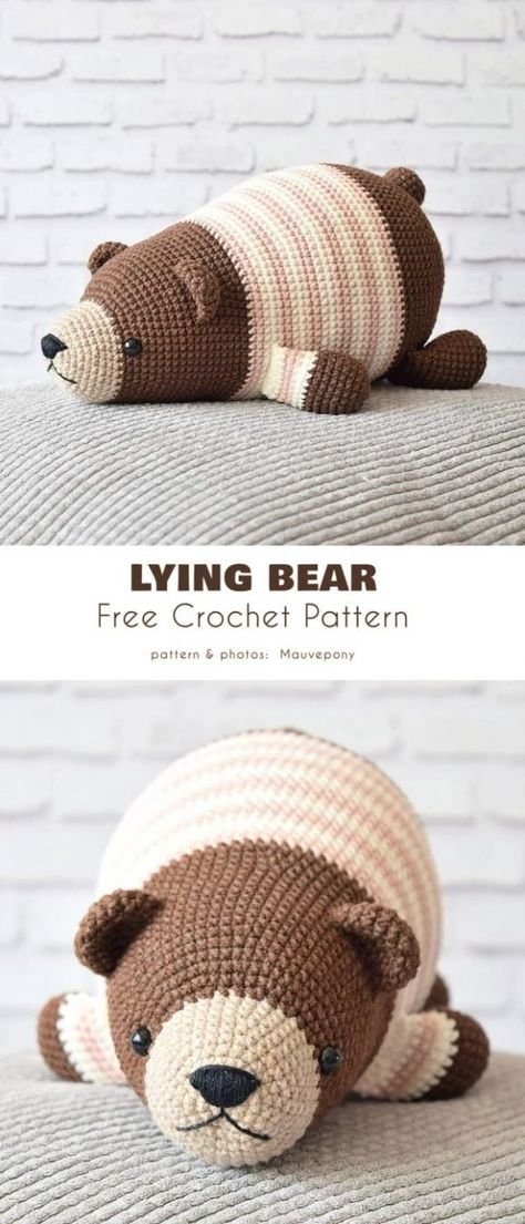 """Lying Bear Free Crochet Pattern This cute little lazybones looks like he just ate a whole barrel of """"hunny"""" and now needs to rest, just a little bit, until he can move again. This is a fun and easy pattern, you can try it even if you are a beginner!"""