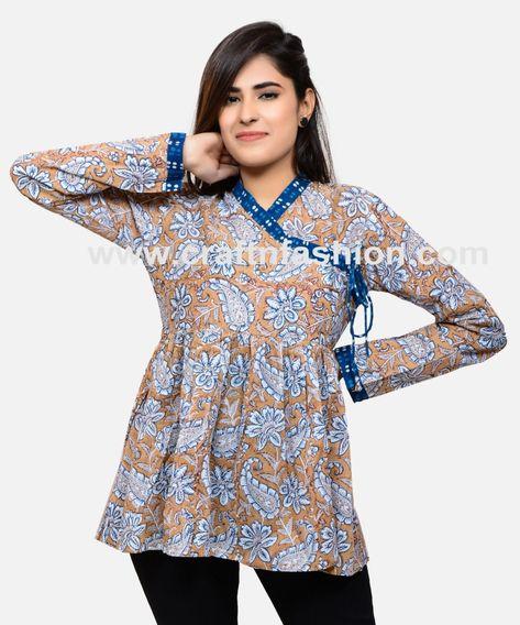 40195ca145 Floral Hand Block Printed Angrakha Top - Ladies Gujarati Kedia Angrakha  Kurti - Cotton Boho Angrakha