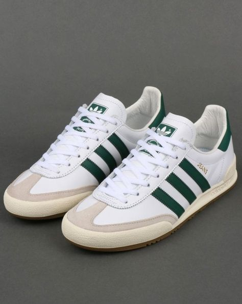 Adidas Jeans Leather Trainers White/Green   Adidas jeans shoes ...