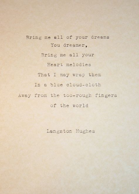 Typewriter Poem The Dream Keeper Langston Hughes