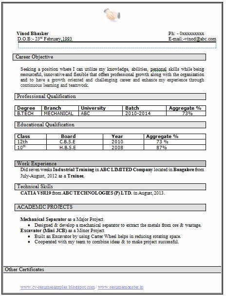 Mechanical Engineering Internship Resume Internship Resume Engineering Internships Resume Format