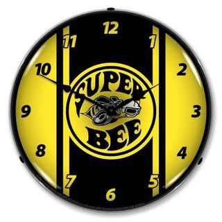 Dodge Black/Yellow Super Bee Backlit Clock