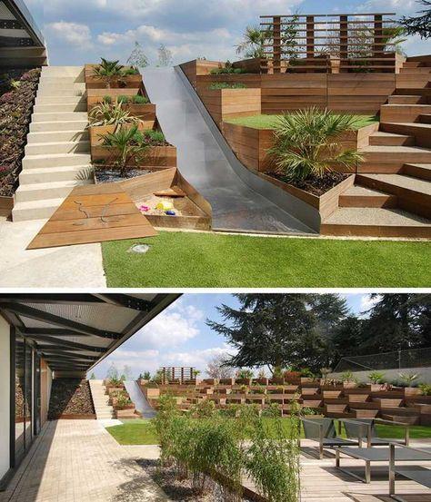 terrasse am hang metall-rutsche-stufen-holz-gestaltung Garten - terrasse hanglage modern