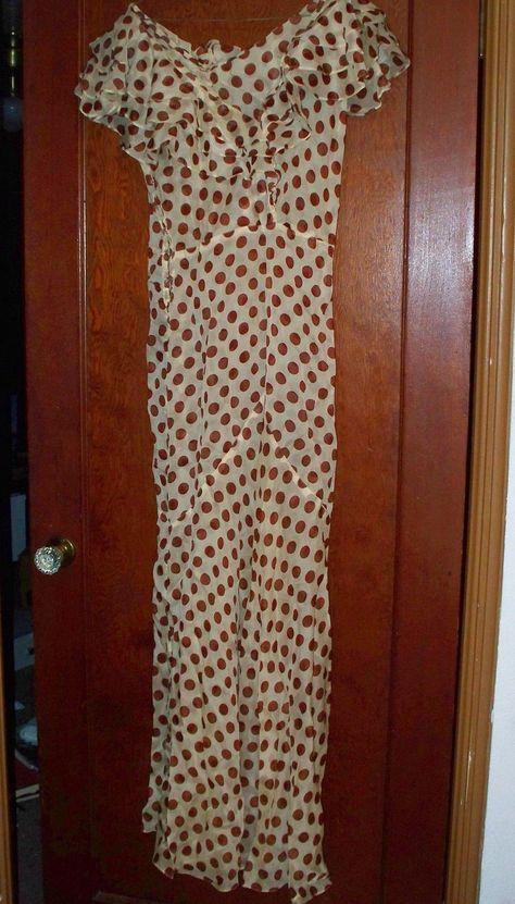 Vintage 1930's Sheer Polka Dot Full Length Dress with Side Snaps