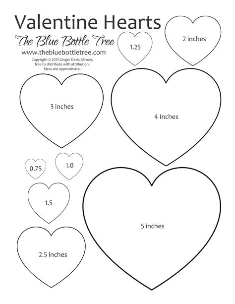 """Valentine Hearts Clip Art, in sizes ranging from 3/4"""" to 5"""", printing on either letter or A4 sized paper."""