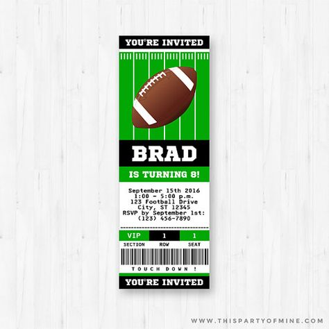football invitation football party invitation football birthday rh pinterest com