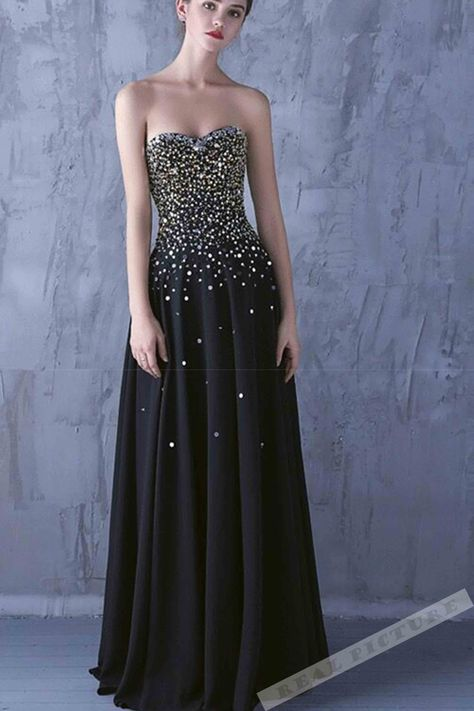 b2336a82f05 Black chiffon sweetheart beading sequins long prom dresses from ...
