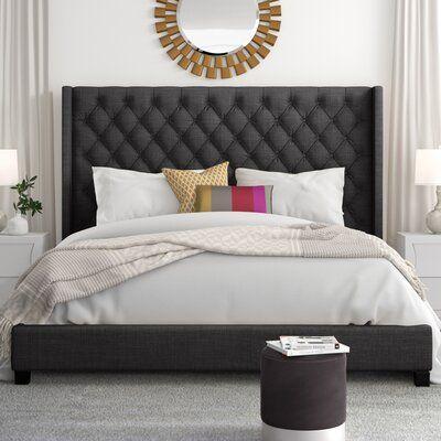 winged headboard bed on Isolde Wingback Upholstered Platform Bed Color Dark Gray Size King Upholstered Platform Bed Platform Bed Low Platform Bed