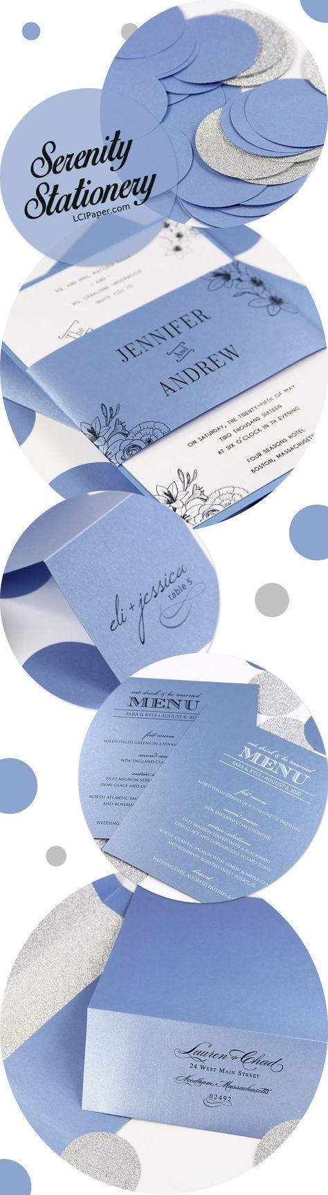 Serenity spring wedding stationery collage. Stardream Vista a ...