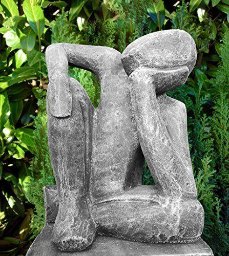 Statue Cast Stone Dreamer, Slate Grey OGD207. Garden SculpturesArt ...