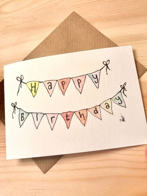 Birthday Bunting Hand Painted Greetings Card   Etsy