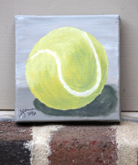 Items Similar To Tennis Ball On Gray Original Acrylic Painting On Stretched Canvas 4x4 Inches On Etsy 4 Canvas Paintings Stretch Canvas Cute Paintings