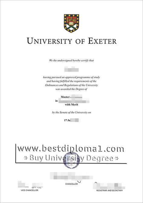 University of Exeter diploma, make a Exeter certificate UK http - sample graduation certificate