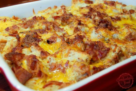 This overnight breakfast casserole is super easy to throw together the night before, then bake morning of.  It's super flavorful, with tons of crispy bacon