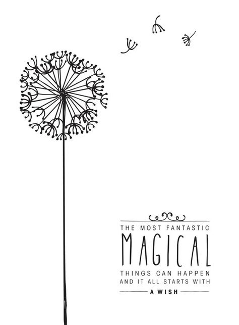 Black and White Digital Disney Quote Poster - Magical things can happen and it all starts with a wish - Jiminy Cricket, Pinocchio