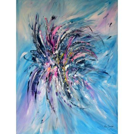 Fleur De L Espace Grand Tableau Ton Bleu Abstrait En 2020