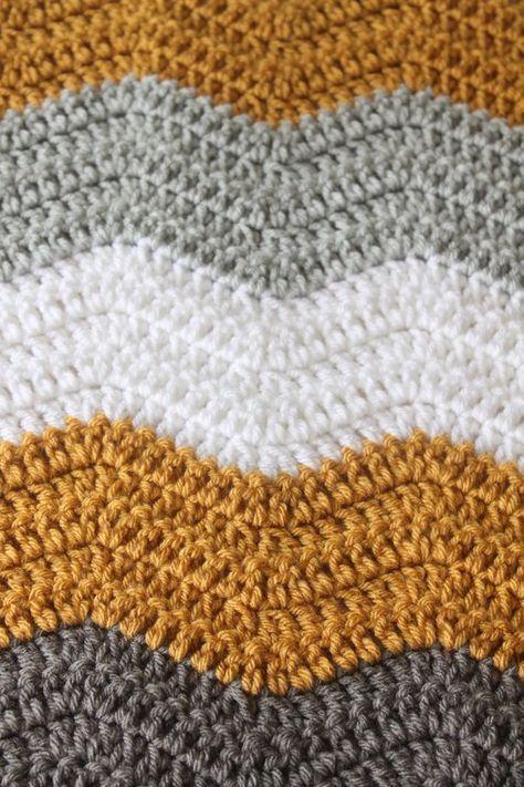 Crochet Baby Blanket Dark Gray Mustard Gold White And Light Gray Chevron Patt Baby Blanket Crochet Crochet Blanket Chevron Crochet For Beginners Blanket