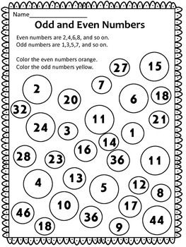 Identifying Odd And Even Numbers Worksheets