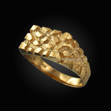 Mens Yellow Gold Rectangular Nugget Ring Mens Gold Rings Yellow Gold Mens Rings Mens Gold Wedding Band