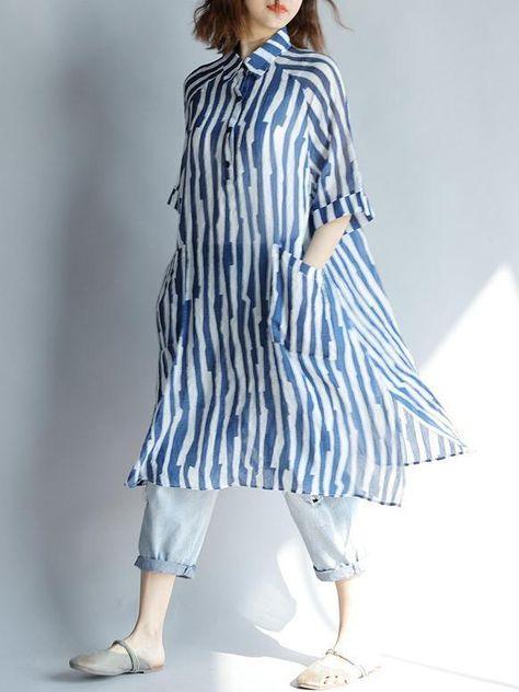 Big Size Summer Women Stripe Button Tops Ladies Plus Large Long Thin Split Blouse Shirt Blusas