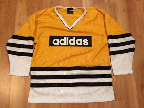 Iluminar Préstamo de dinero Esperanzado  Medium 90's adidas air knit men's hockey jersey yellow gold black ...