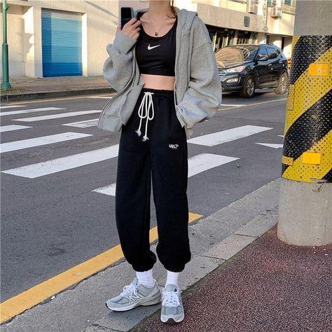 HOUZHOU Oversized Grey Jogging Sweatpants Women Korean Style Joggers Track Pants White Embroidery Trousers For Female Streetwear - Black / S