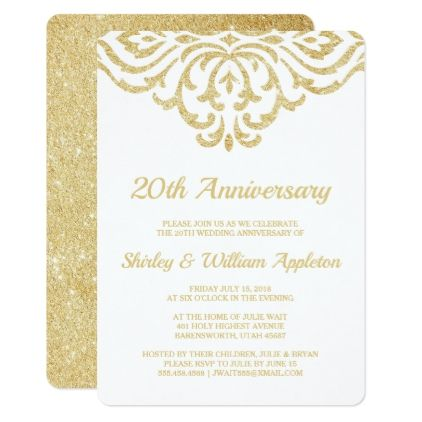 Gold Vintage Glam Elegant 20th Wedding Anniversary Invitation