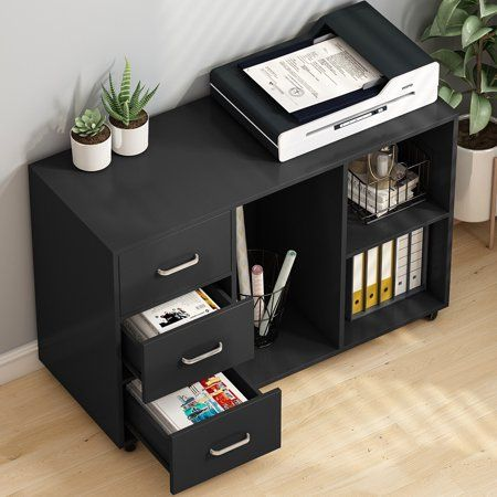 Tribesigns 3 Drawer Wood File Cabinets Large Modern Lateral Mobile Filing Cabinets Printer Stand With Wh In 2020 Black Office Furniture Storage Shelves Filing Cabinet