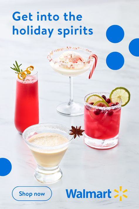 Make the holidays merry and bright with these tasty seasonal cocktails fromWalmart. Whether you prefer a drink that's cold and creamy or fruity andrefreshing, we have the recipes that'll keep you sipping in style all seasonlong.