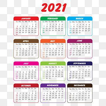 Calendario 2021 En Varios Colores, Calendario 2021, Calendario