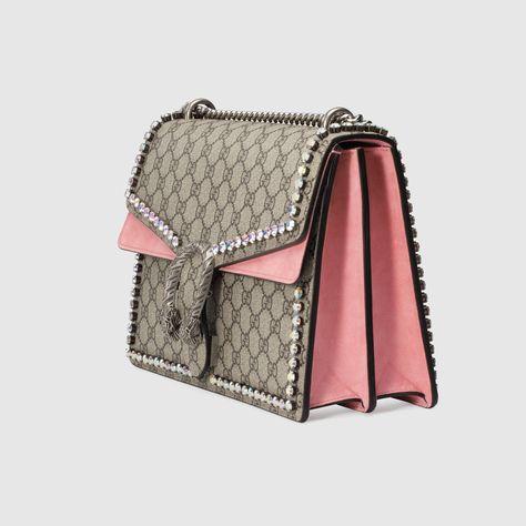 859af0a17a9 Gucci Dionysus GG Supreme shoulder bag with crystals