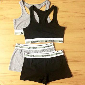 Reworked Underwear Set Calvin Klein Sports Bra and Shorts in Grey or Black