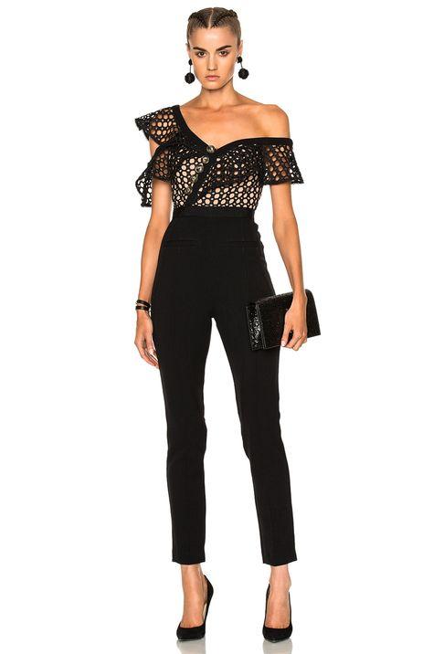 self-portrait Lace Frill Jumpsuit in Black | FWRD