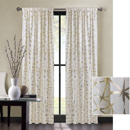 Better Homes Gardens Metallic Gold Or Silver Shattered Glass Window Curtain Panel Walmart Com Panel Curtains Silver Curtains Gold Curtains