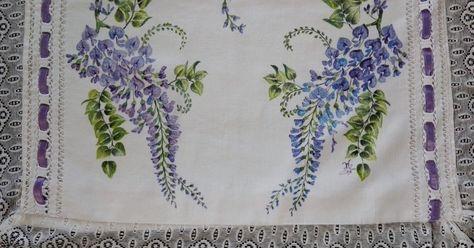 Glicine: pittura su stoffa. Cuscino con pizzo inizi 1900