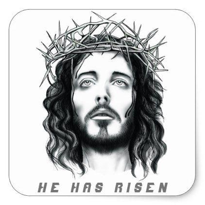 Easter Jesus Has Risen Square Sticker Zazzle Com Jesus Face Jesus Tshirts Jesus Drawings