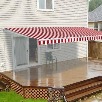 10 Ft W X 8 Ft D Fabric Retractable Standard Patio Awning In 2020 Patio Awning Awning Patio