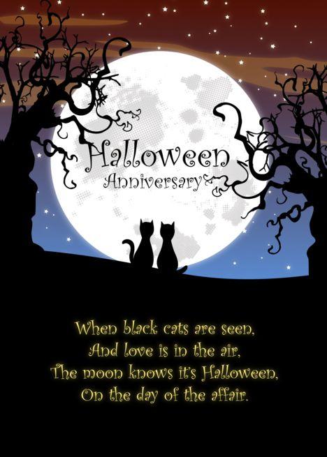 Halloween Wedding Anniversary Black Cats Moon And Dead Trees Card Ad Sponsored Anniversary Black Halloween Wedding Tree Cards Wedding Anniversary