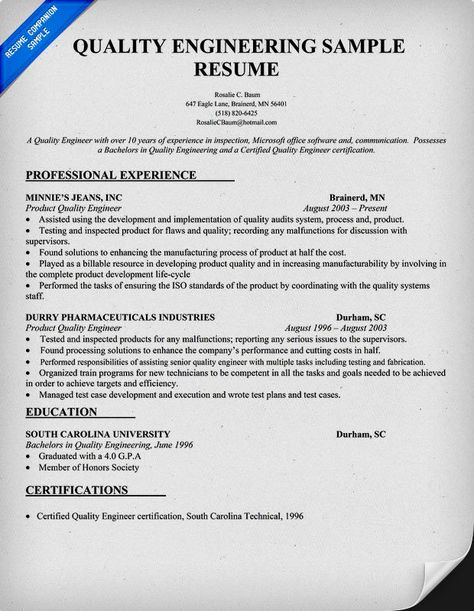 Quality Engineer Resume Enchanting Sample Of A Z Vm System #programmer Resume Format Resumecompanion .