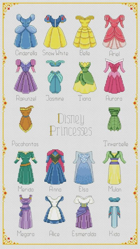 13 Disney Princess Instant Download! cross stitch Princess Version 1 cross stitch disney Aurora pink dress cross stitch pattern