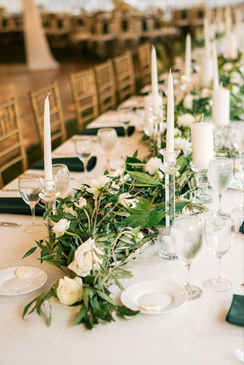 Fall wedding table with greenery and tall candles #fallwedding #octoberwedding #nywedding #greenwedding #tallcandles